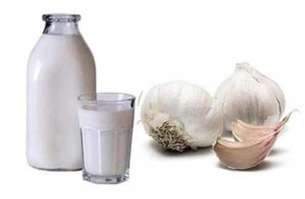 Одну столовую ложку измельченного чеснока стоит залить стаканом кипящего молока